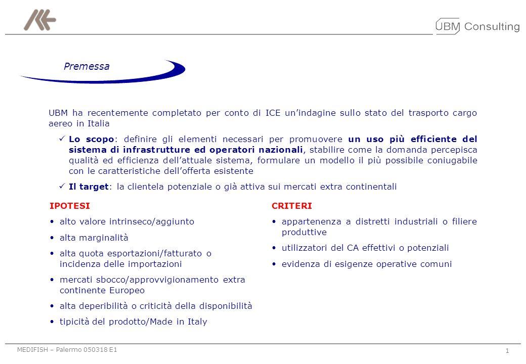 Premessa UBM ha recentemente completato per conto di ICE un'indagine sullo stato del trasporto cargo aereo in Italia.