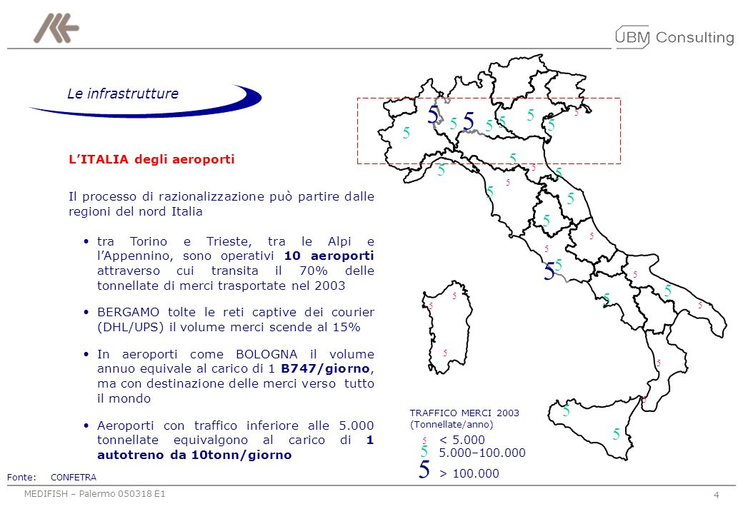5 5 > 100.000 5 5.000–100.000 Le infrastrutture