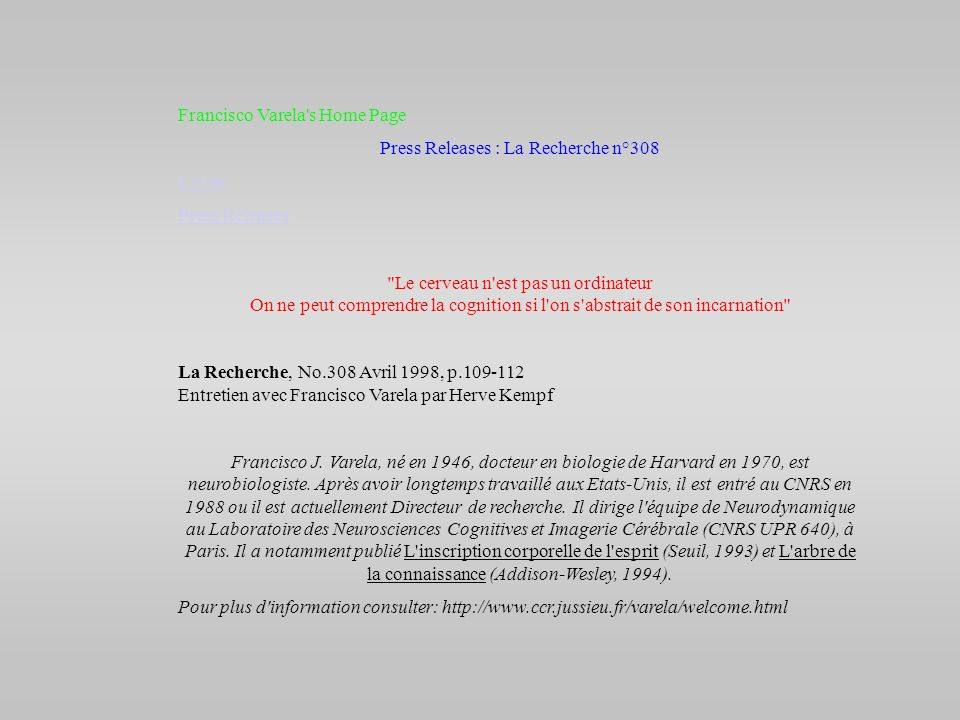 Press Releases : La Recherche n°308