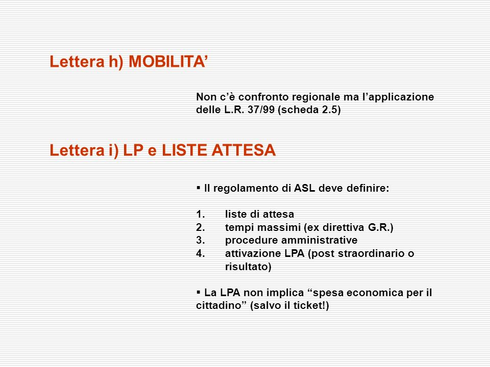Lettera i) LP e LISTE ATTESA