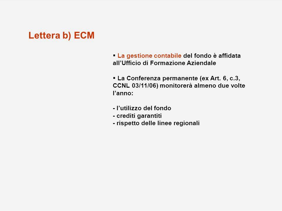 Lettera b) ECM La gestione contabile del fondo è affidata all'Ufficio di Formazione Aziendale.