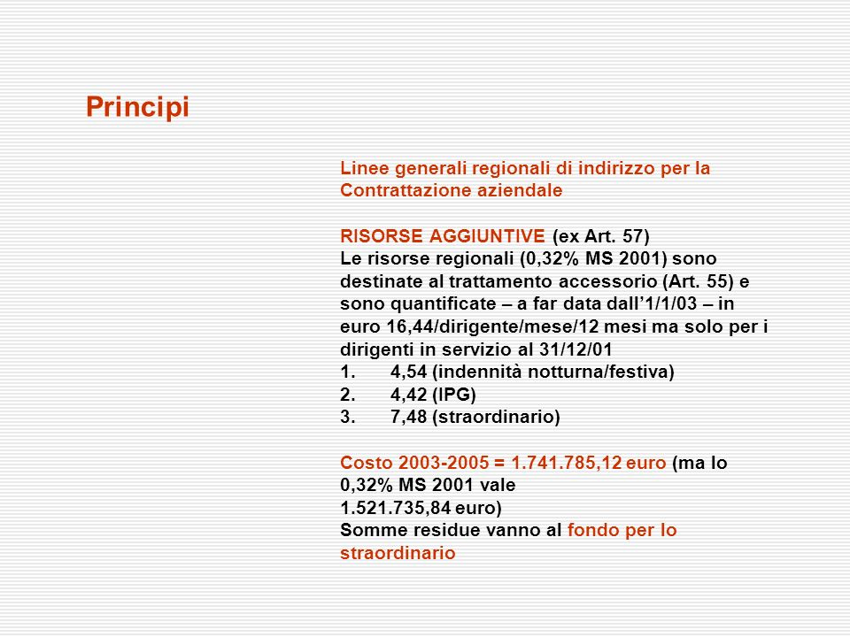 Principi Linee generali regionali di indirizzo per la