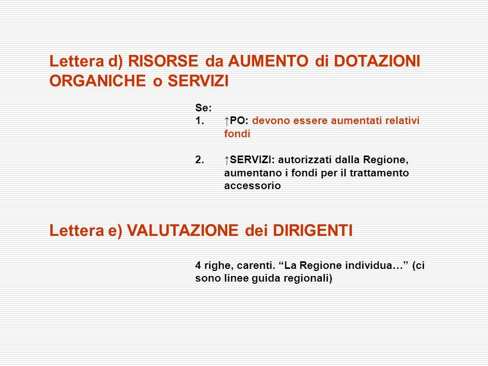Lettera d) RISORSE da AUMENTO di DOTAZIONI ORGANICHE o SERVIZI