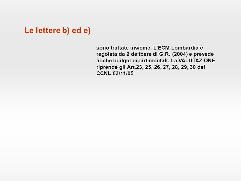Le lettere b) ed e)