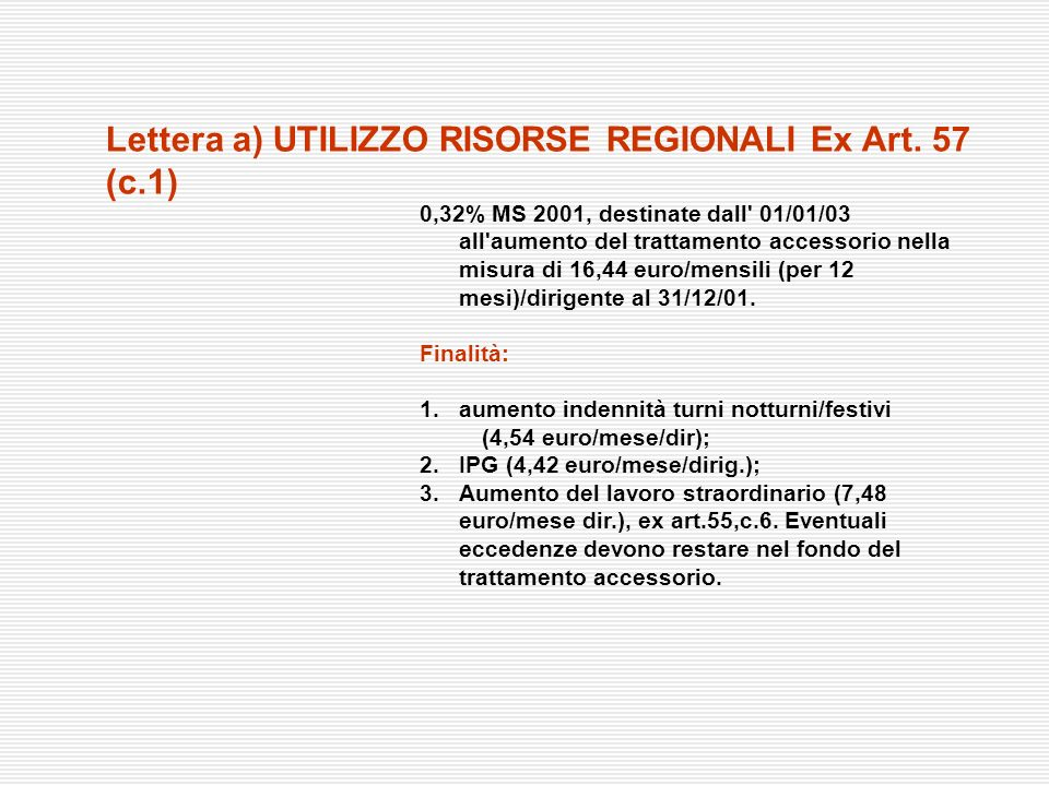 Lettera a) UTILIZZO RISORSE REGIONALI Ex Art. 57 (c.1)