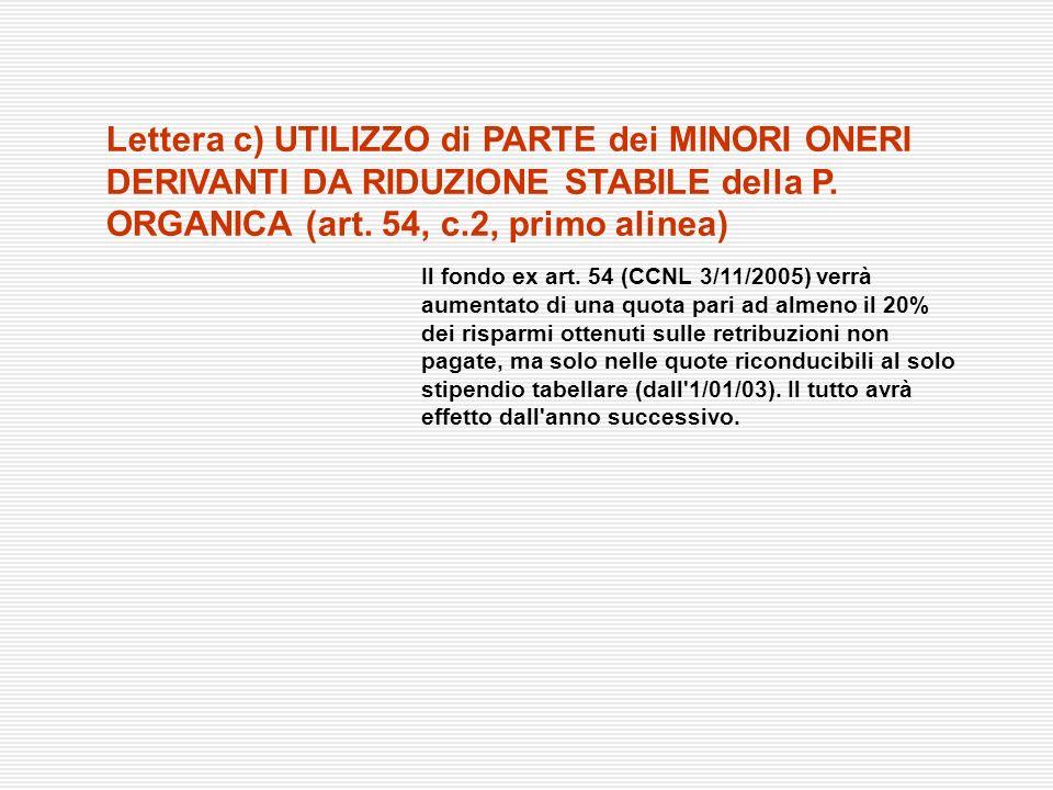 Lettera c) UTILIZZO di PARTE dei MINORI ONERI DERIVANTI DA RIDUZIONE STABILE della P. ORGANICA (art. 54, c.2, primo alinea)