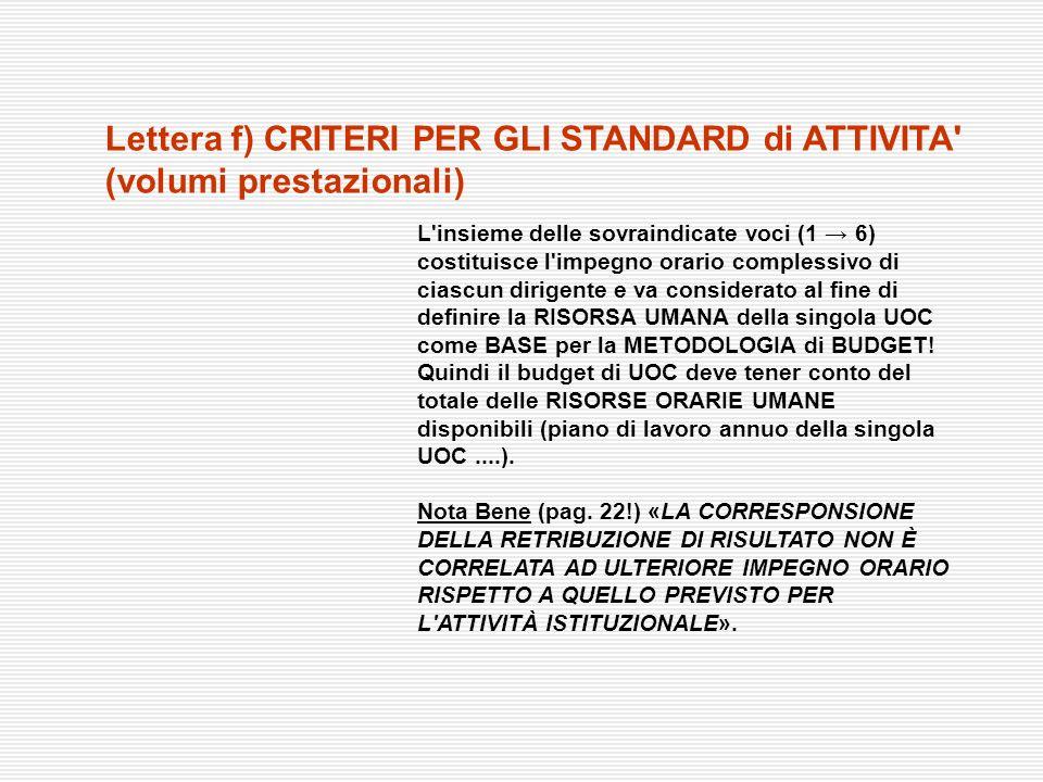 Lettera f) CRITERI PER GLI STANDARD di ATTIVITA (volumi prestazionali)