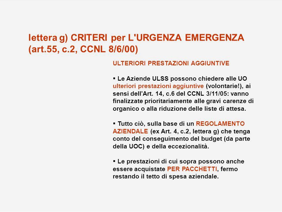 lettera g) CRITERI per L URGENZA EMERGENZA (art.55, c.2, CCNL 8/6/00)