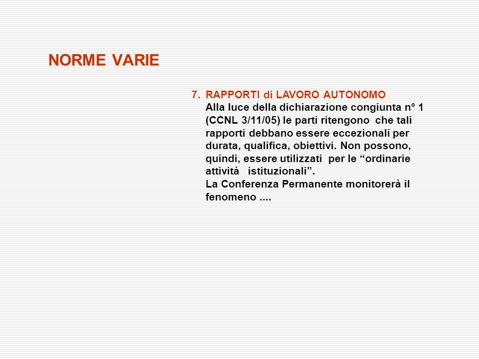 NORME VARIE 7. RAPPORTI di LAVORO AUTONOMO