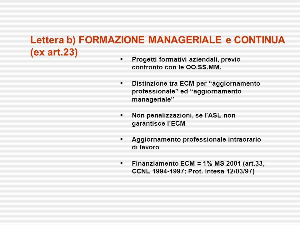 Lettera b) FORMAZIONE MANAGERIALE e CONTINUA (ex art.23)