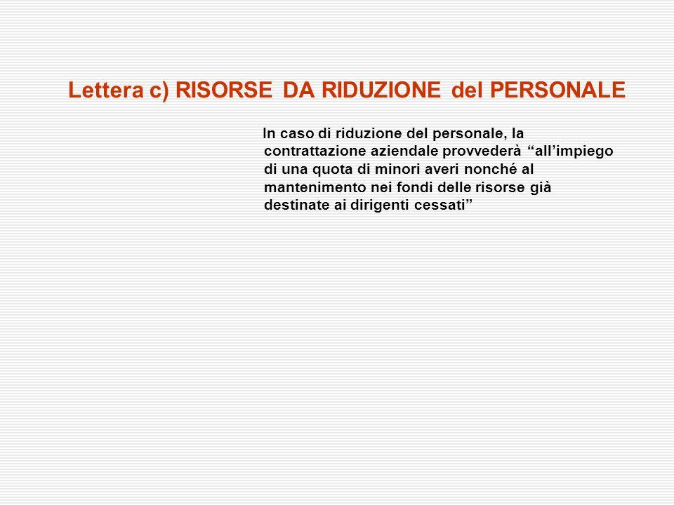 Lettera c) RISORSE DA RIDUZIONE del PERSONALE
