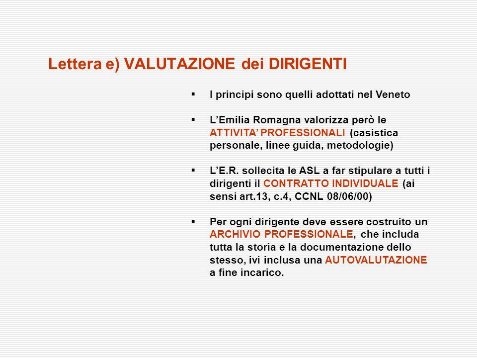 Lettera e) VALUTAZIONE dei DIRIGENTI