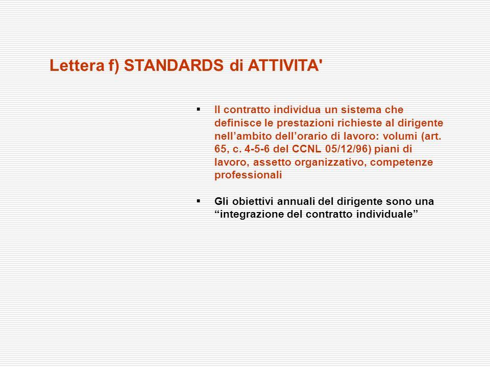 Lettera f) STANDARDS di ATTIVITA