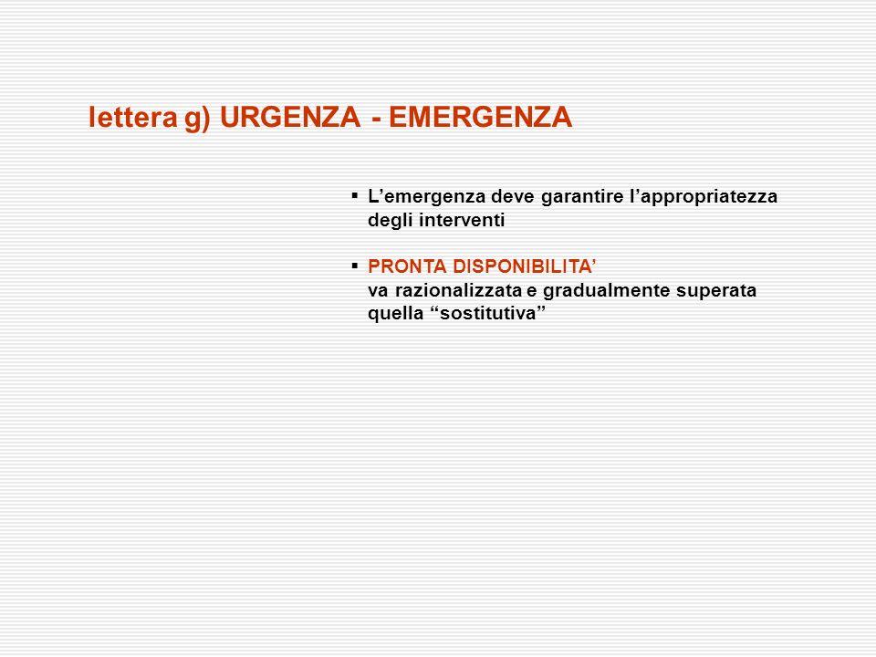 lettera g) URGENZA - EMERGENZA