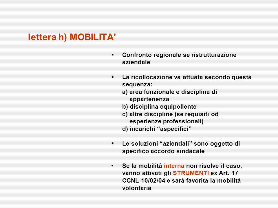 lettera h) MOBILITA Confronto regionale se ristrutturazione aziendale