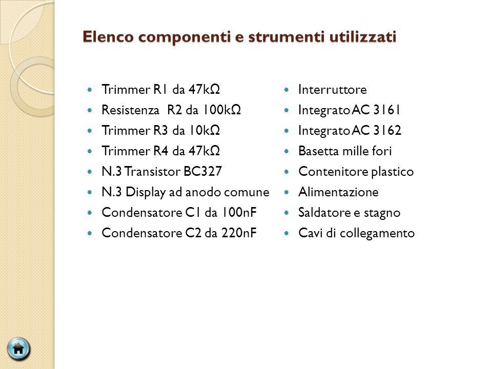 Elenco componenti e strumenti utilizzati