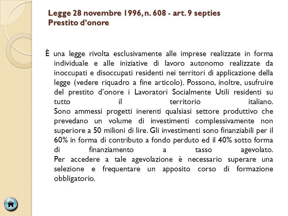 Legge 28 novembre 1996, n. 608 - art. 9 septies Prestito d'onore