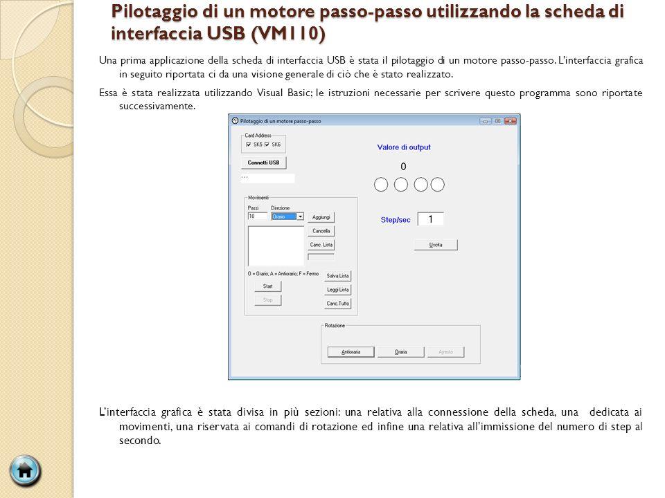 Pilotaggio di un motore passo-passo utilizzando la scheda di interfaccia USB (VM110)