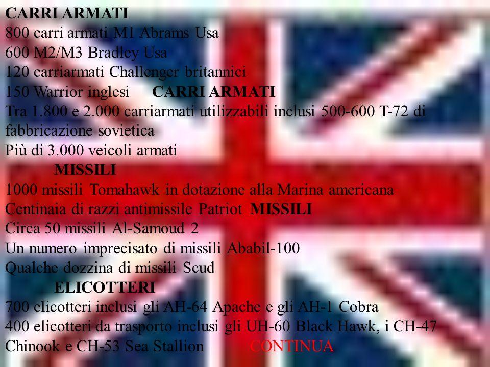 CARRI ARMATI 800 carri armati M1 Abrams Usa 600 M2/M3 Bradley Usa 120 carriarmati Challenger britannici 150 Warrior inglesi CARRI ARMATI Tra 1.800 e 2.000 carriarmati utilizzabili inclusi 500-600 T-72 di fabbricazione sovietica Più di 3.000 veicoli armati