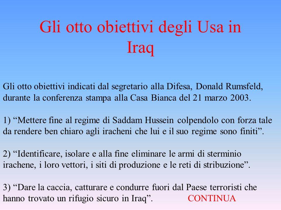 Gli otto obiettivi degli Usa in Iraq
