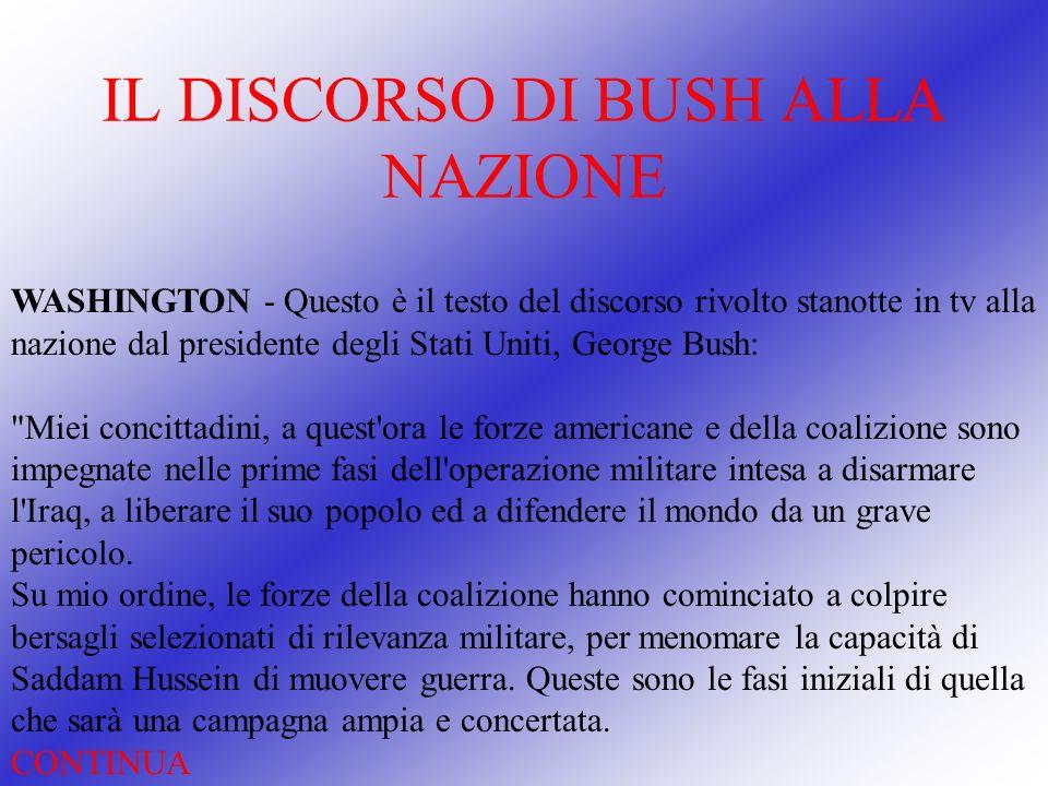 IL DISCORSO DI BUSH ALLA NAZIONE
