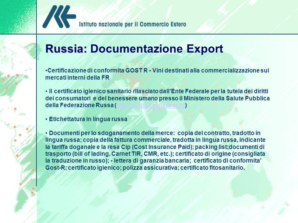 Russia: Documentazione Export