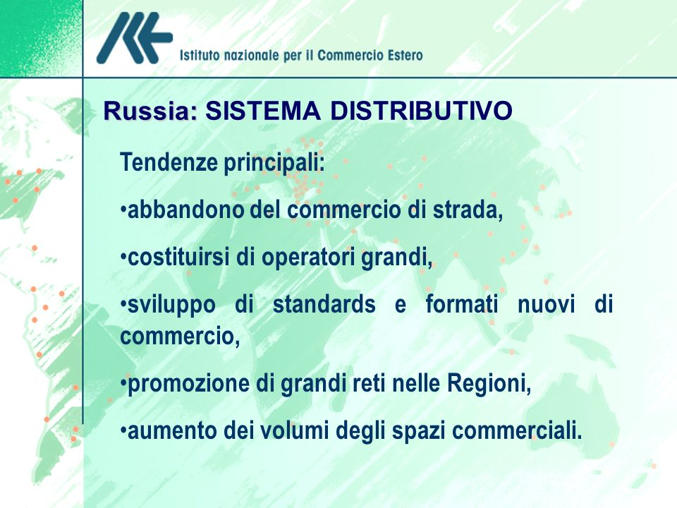 Russia: SISTEMA DISTRIBUTIVO