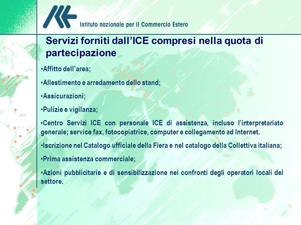 Servizi forniti dall'ICE compresi nella quota di partecipazione