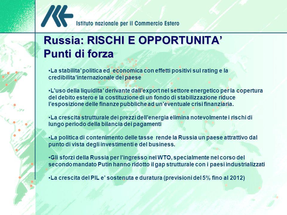 Russia: RISCHI E OPPORTUNITA' Punti di forza