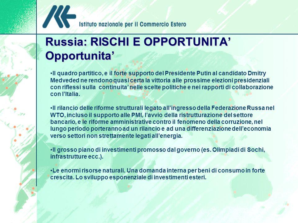 Russia: RISCHI E OPPORTUNITA' Opportunita'