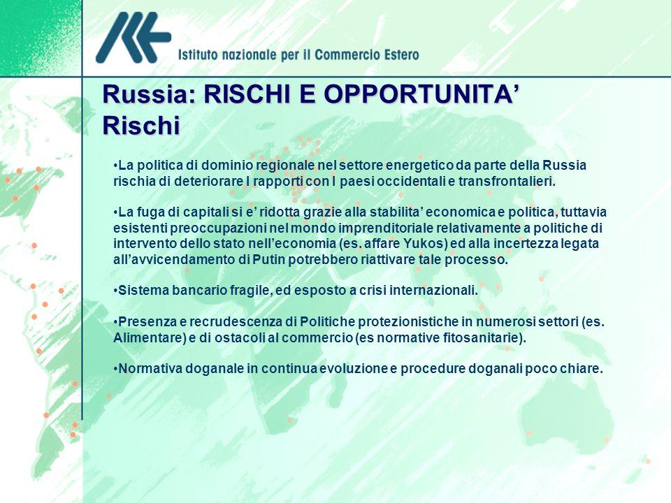 Russia: RISCHI E OPPORTUNITA' Rischi