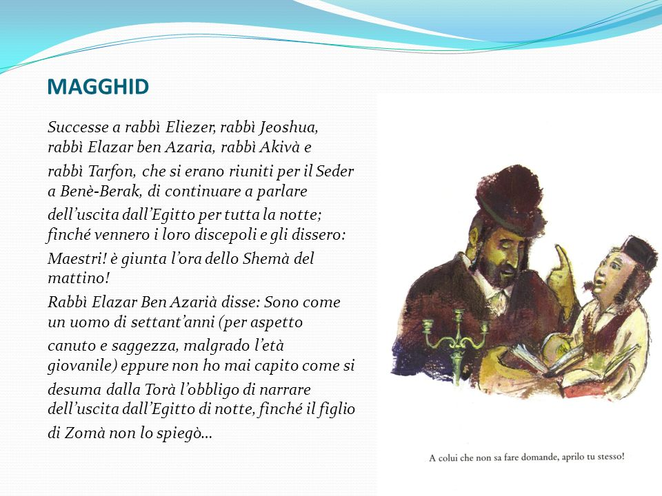MAGGHID Successe a rabbì Eliezer, rabbì Jeoshua, rabbì Elazar ben Azaria, rabbì Akivà e.