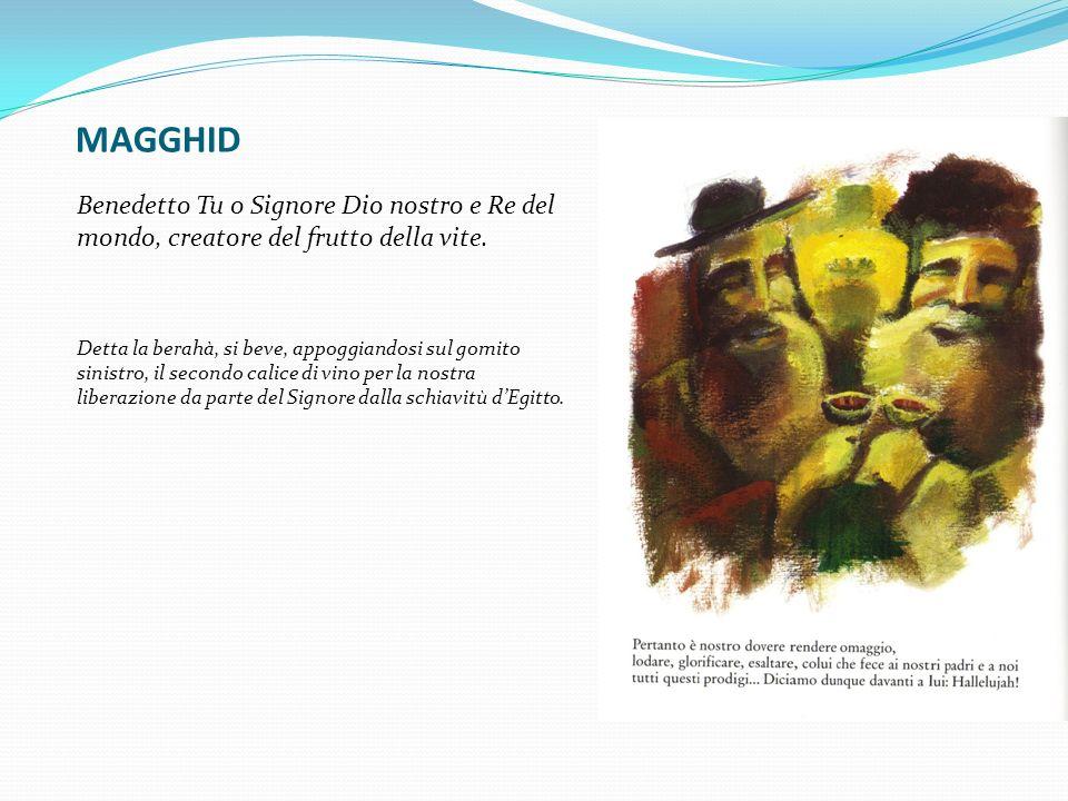 MAGGHID Benedetto Tu o Signore Dio nostro e Re del mondo, creatore del frutto della vite.