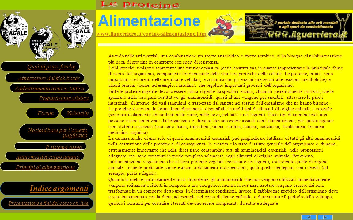 Alimentazione Le proteine www.ilguerriero.it/codino/alimentazione.htm