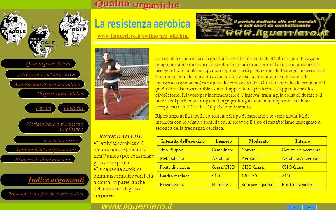 La resistenza aerobica Intensità dell esercizio