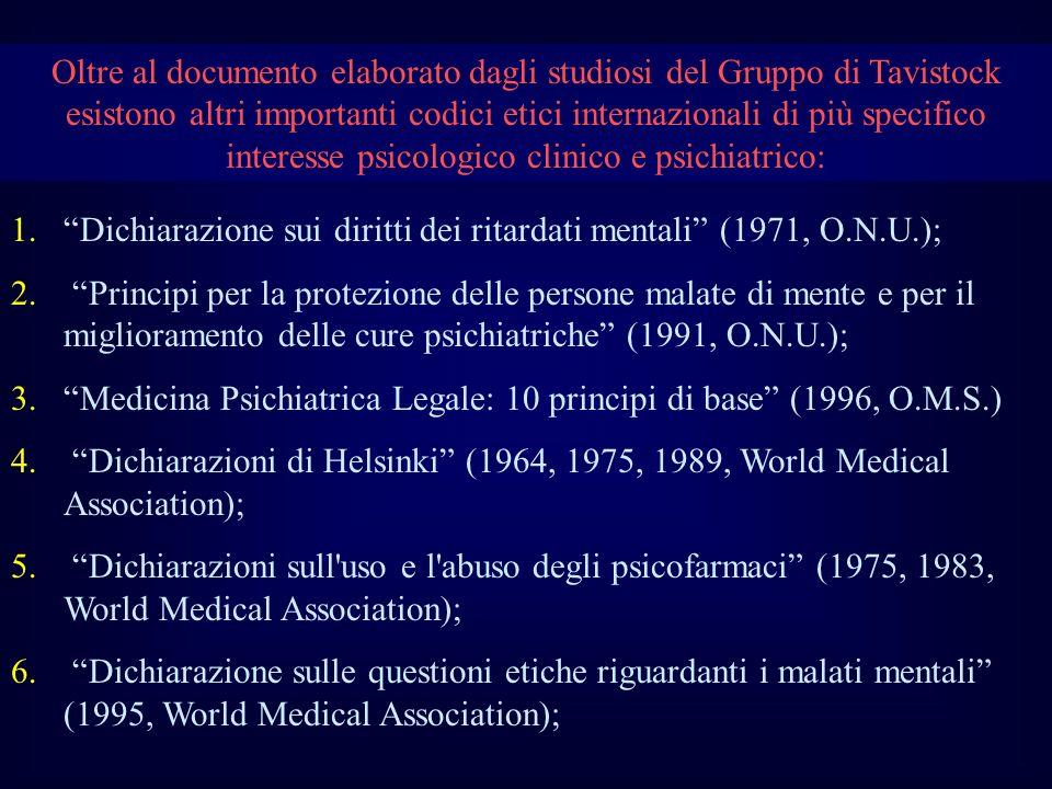 Oltre al documento elaborato dagli studiosi del Gruppo di Tavistock esistono altri importanti codici etici internazionali di più specifico interesse psicologico clinico e psichiatrico: