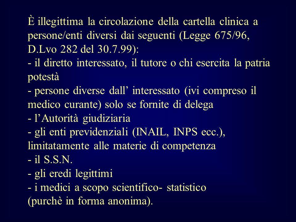 È illegittima la circolazione della cartella clinica a persone/enti diversi dai seguenti (Legge 675/96, D.Lvo 282 del 30.7.99):