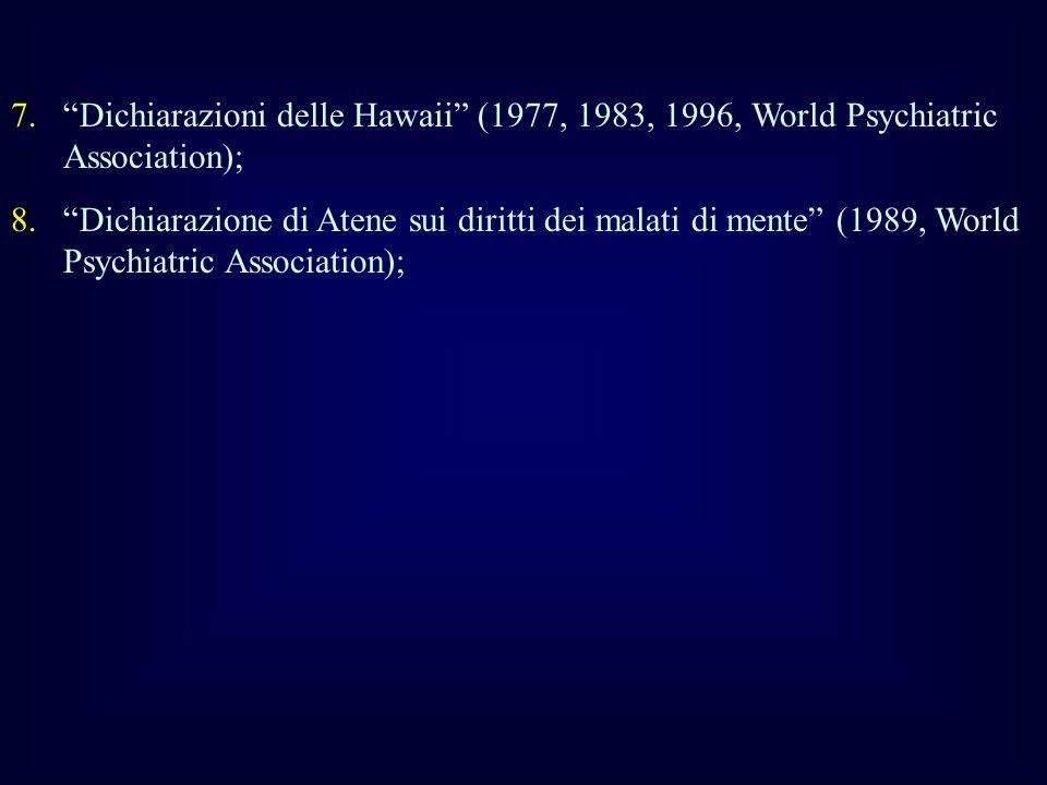 Dichiarazioni delle Hawaii (1977, 1983, 1996, World Psychiatric Association);