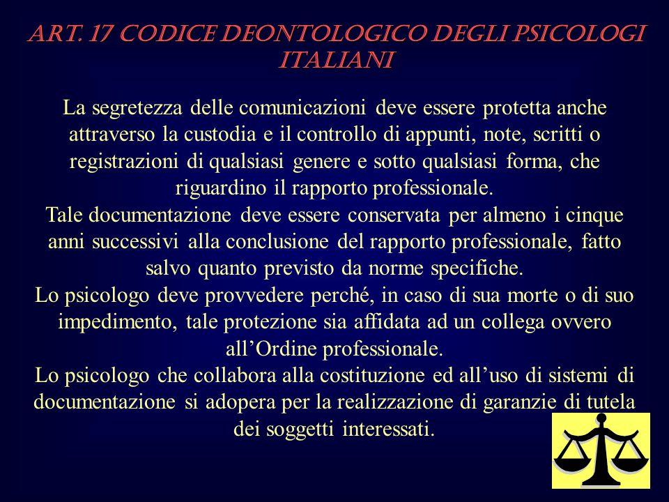 Art. 17 Codice Deontologico degli Psicologi italiani