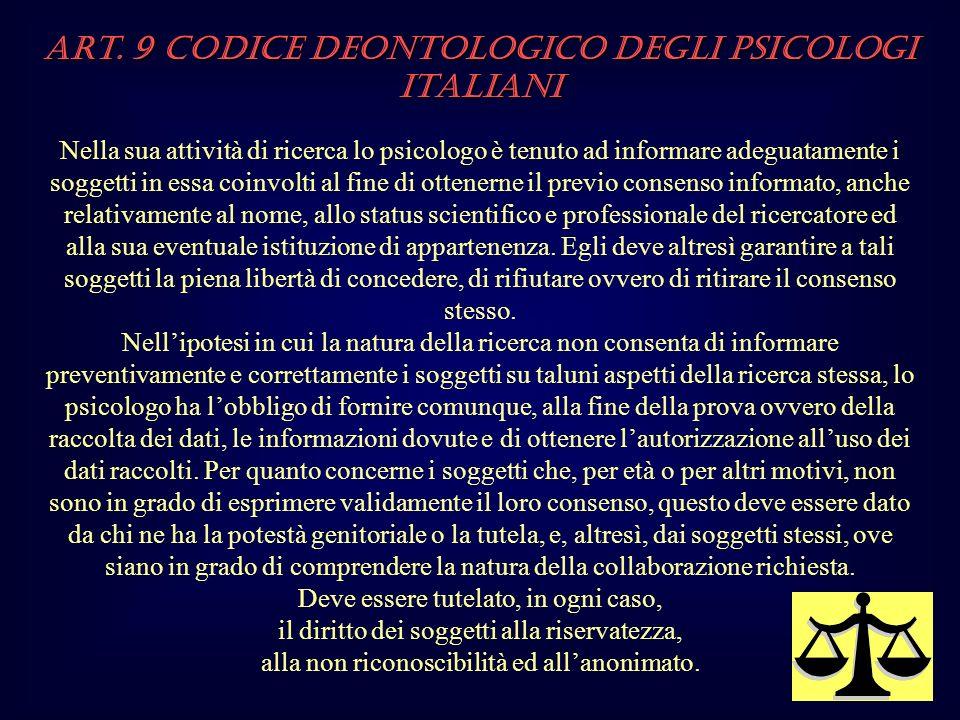 Art. 9 Codice Deontologico degli Psicologi italiani