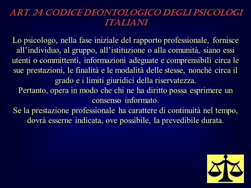 Art. 24 Codice Deontologico degli Psicologi italiani
