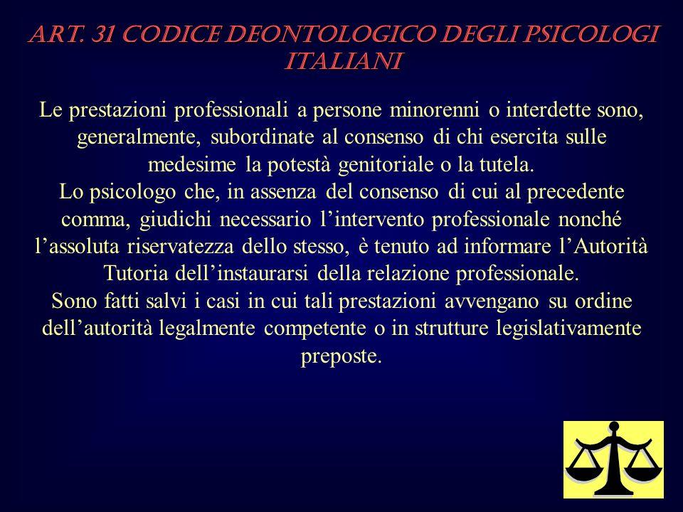 Art. 31 Codice Deontologico degli Psicologi italiani