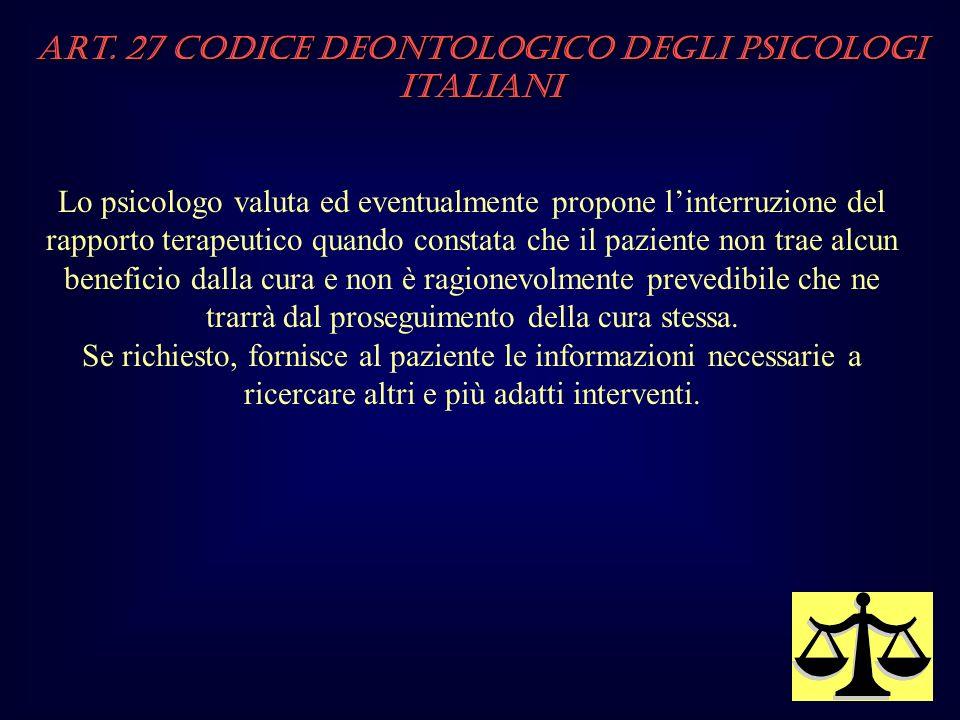 Art. 27 Codice Deontologico degli Psicologi italiani