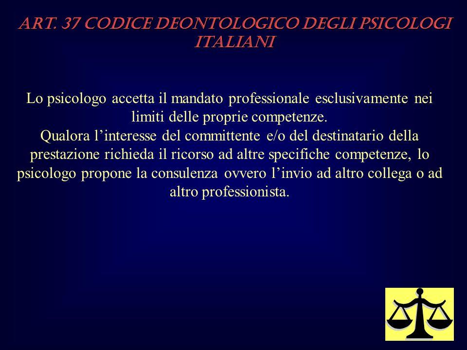 Art. 37 Codice Deontologico degli Psicologi italiani