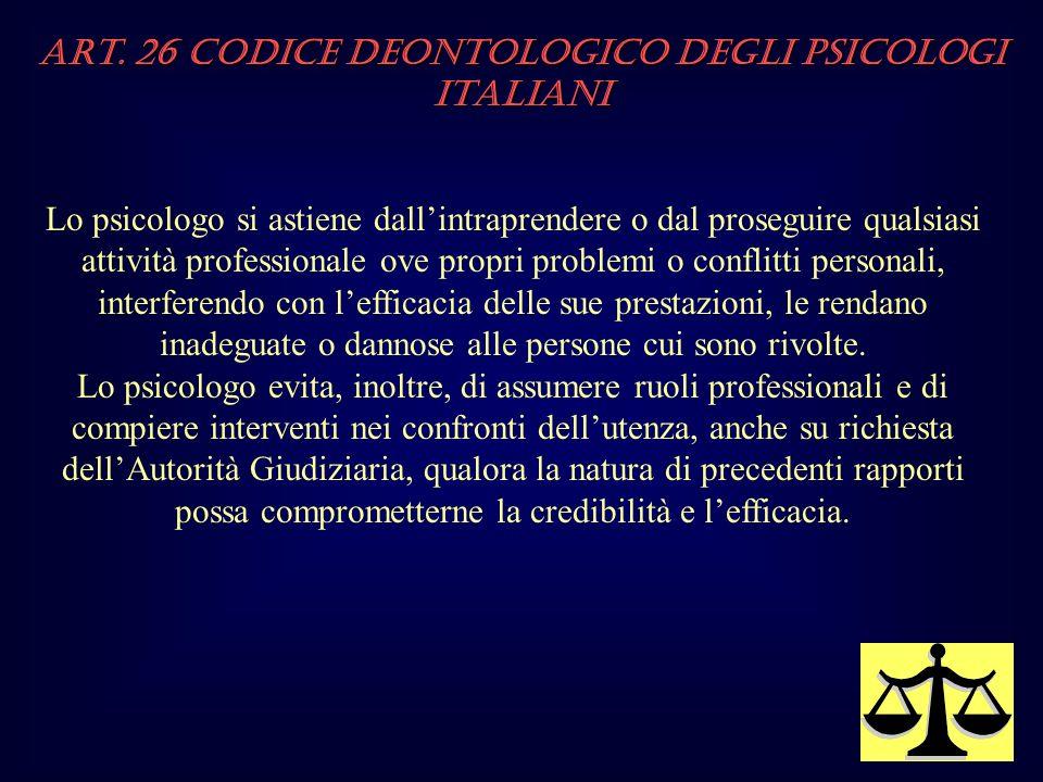 Art. 26 Codice Deontologico degli Psicologi italiani