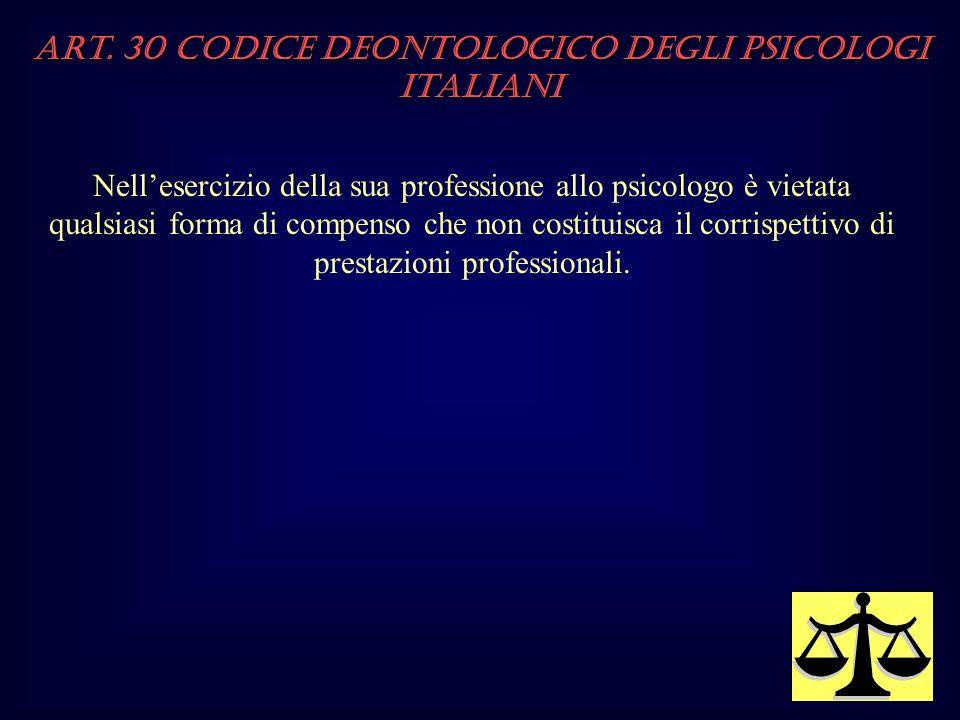 Art. 30 Codice Deontologico degli Psicologi italiani