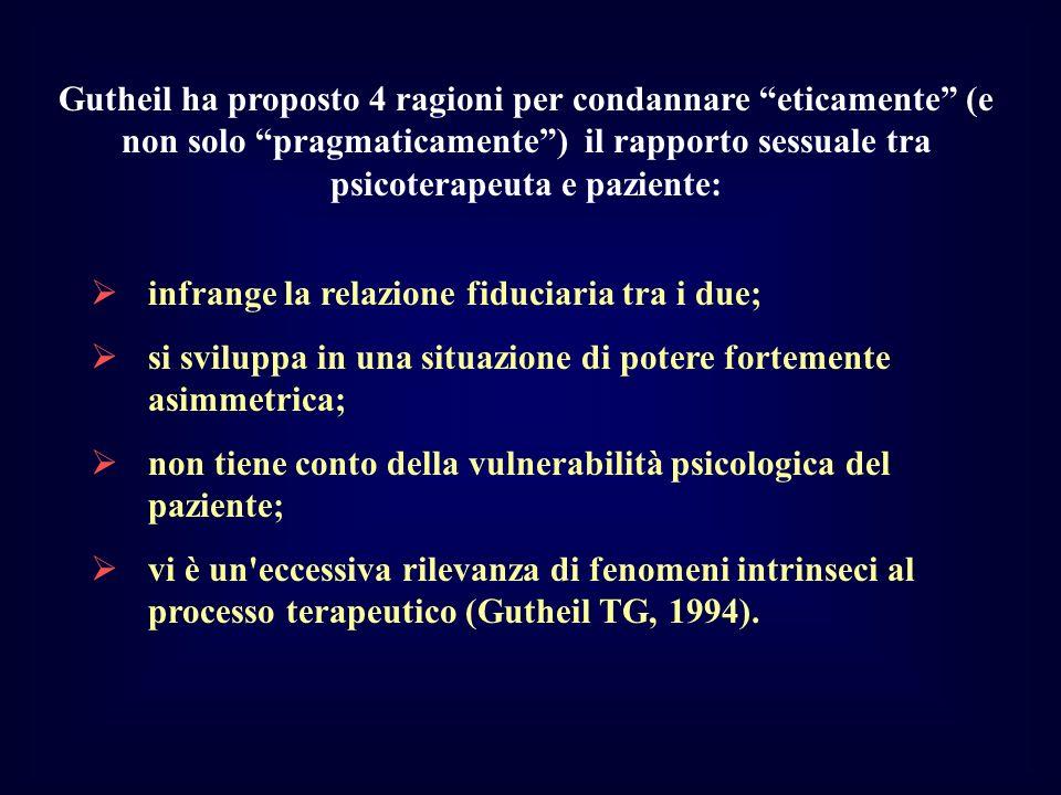 Gutheil ha proposto 4 ragioni per condannare eticamente (e non solo pragmaticamente ) il rapporto sessuale tra psicoterapeuta e paziente: