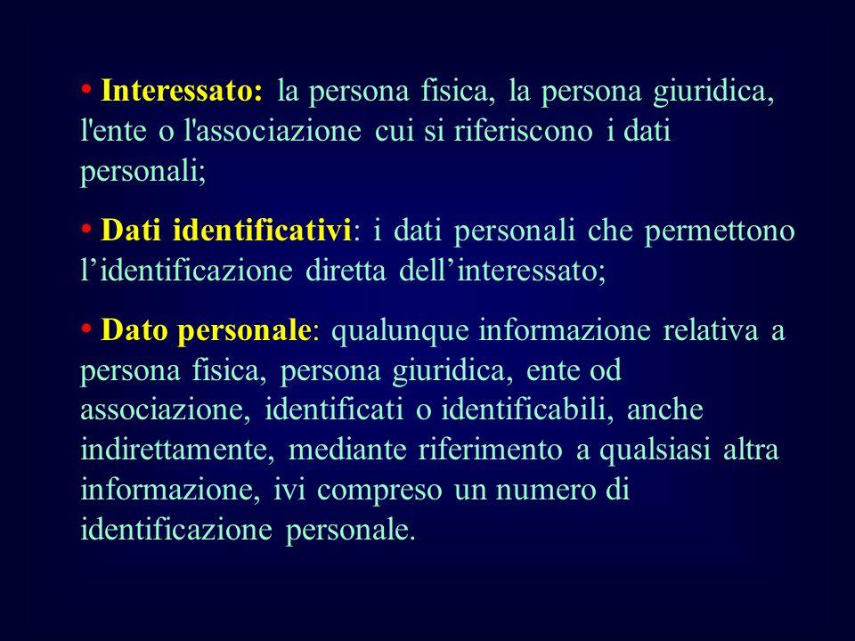 Interessato: la persona fisica, la persona giuridica, l ente o l associazione cui si riferiscono i dati personali;