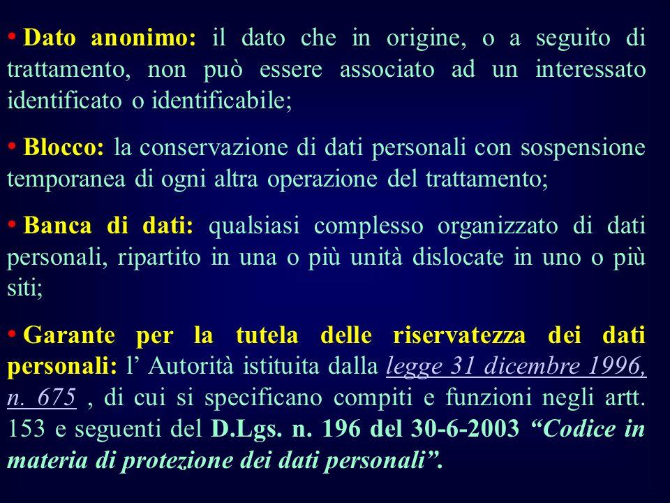 Dato anonimo: il dato che in origine, o a seguito di trattamento, non può essere associato ad un interessato identificato o identificabile;