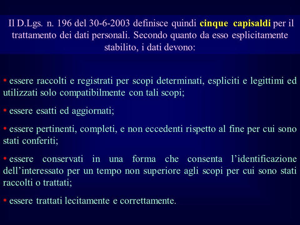 Il D.Lgs. n. 196 del 30-6-2003 definisce quindi cinque capisaldi per il trattamento dei dati personali. Secondo quanto da esso esplicitamente stabilito, i dati devono: